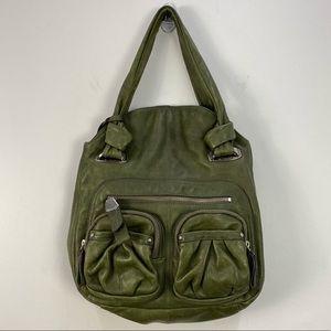 b. makowsky Green Pocket Leather Tote Shoulder Bag